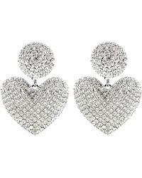 Alessandra Rich Embellished Heart-shape Earrings - Metallic