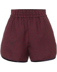 Fendi Shorts de lana virgen de cuadros - Morado