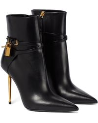 Tom Ford Padlock Leather Ankle Boots - Black