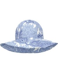 Etro Paisley-print Ramie Hat - Blue