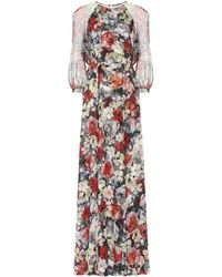 Erdem Lamara Floral Silk-voile Gown - Black