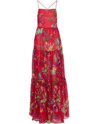 Etro Robe longue en coton et soie à fleurs - Rouge