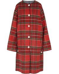 Marni Abrigo de lana a cuadros reversible - Rojo