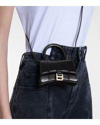 Balenciaga Tote Hourglass Mini de piel - Negro