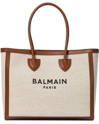 Balmain B-army 42 Canvas Shopper - Natural