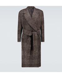 Dolce & Gabbana Sobretodo de cuadros con cinturón - Marrón
