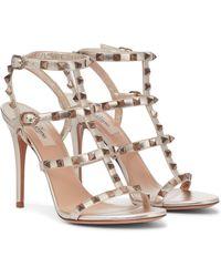 Valentino Garavani Valentino Garavani Rockstud Leather Sandals - Metallic