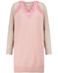 Stella McCartney Kleid aus Wolle mit Spitze - Pink