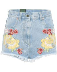 Gucci | Embroidered Denim Shorts | Lyst