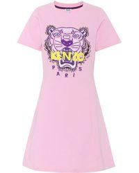 KENZO Tiger Logo Cotton Minidress - Pink