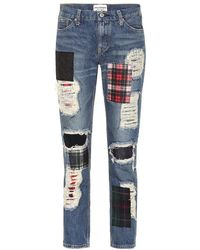 Junya Watanabe Patchwork High-rise Straight Jeans - Blue