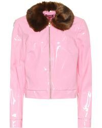 STAUD Dion Faux-leather Jacket - Pink