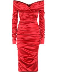 Dolce & Gabbana Stretch-silk Midi Dress - Red