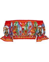 Dolce & Gabbana Cropped-Top aus Baumwollpopeline - Rot