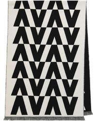 Valentino Bufanda de jacquard de lana y cachemir - Negro
