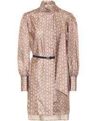 Fendi Robe à lavallière imprimée en soie - Neutre