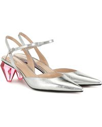 Marc Jacobs The Slingback Leather Court Shoes - Metallic