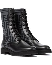 Fendi Rockoko Ff Leather-trimmed Combat Boots - Black