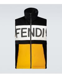 Fendi Colorblock Corduroy Panelled Gilet - Black