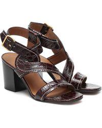 Chloé Candice Croc-effect Leather Sandals - Brown