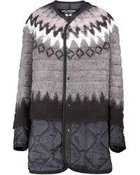 Junya Watanabe Abrigo acolchado de lana en capas - Multicolor