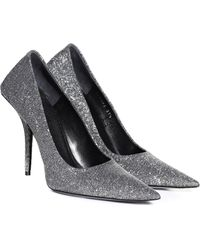 Balenciaga Square Knife Glitter Court Shoes - Metallic