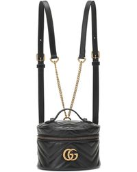 Gucci GG Marmont Mini Leather Backpack - Black