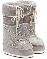 Yves Salomon X Moon Boot Shearling Snow Boots - Gray