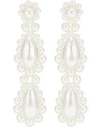 Simone Rocha Orecchini pendenti con perle bijoux - Bianco