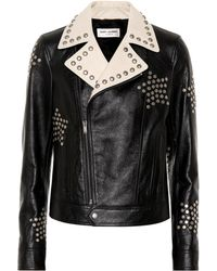 Saint Laurent Studded Biker Jacket - Black