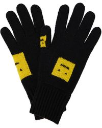 Acne Studios Handschuhe Face aus Wollstrick - Gelb
