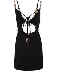 Loewe Paula's Ibiza Beaded Cotton-blend Minidress - Black