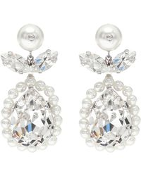 Simone Rocha Crystal And Faux-pearl Drop Earrings - White