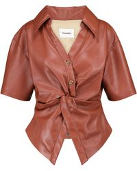 Nanushka Thora Faux Leather Top - Brown