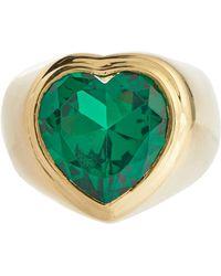 Timeless Pearly Vergoldeter Ring mit Kristall - Grün