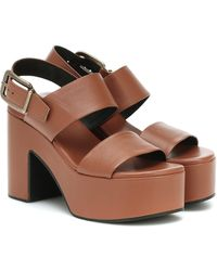 Dries Van Noten Leather Platform Sandals - Brown