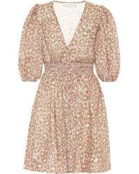Zimmermann Carnaby Leopard-print Linen Minidress - Pink