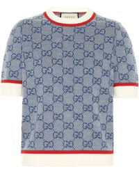 Gucci GG Logo-jacquard Wool-blend Knitted Top - Blue
