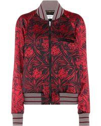 Saint Laurent Printed Satin Bomber Jacket - Red