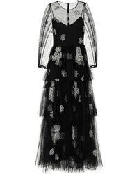 RED Valentino Robe longue brodée en tulle à fleurs - Noir