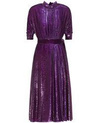 Prada - Metallic Velvet Dress - Lyst