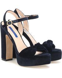 Stuart Weitzman Mirri 140 Velvet Sandals - Blue