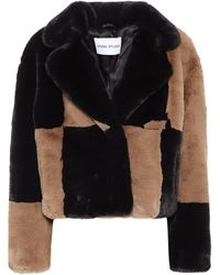 Stand Studio Janet Patchwork Faux Fur Crop Jacket - Black