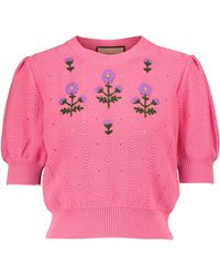 Gucci Embroidered Cotton-blend Top - Pink
