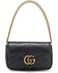 Gucci GG Marmont Micro Leather Shoulder Bag - Black