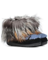 Army by Yves Salomon X Moon Boot® Mink Fur Ankle Boots - Grey