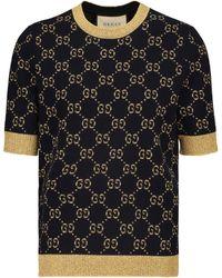Gucci Top aus Lamé und Baumwollgemisch - Blau