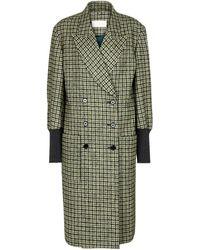 Chloé Karierter Mantel aus Wollgemisch - Grün
