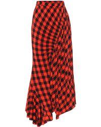 Preen By Thornton Bregazzi Hayat Checked Midi Skirt - Red