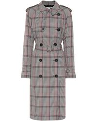 Stella McCartney Check Wool-blend Coat - Black